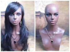 Fiberglass Black Female Realistic Mannequin Head Bust For Lace Wig And Jewelry