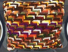 Handmade Crochet Square Throw Pillow Brown Yellow Orange Purple Variegated