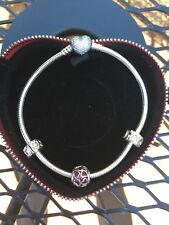 AUTHENTIC PANDORA STERLING SILVER OPEN HEARTS BRACELET GIFT SET 9.1""