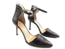 Ann Taylor Women's Heels Katia Leather Ankle Strap Croc Embossed $148 Pumps Sz 7