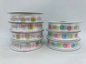 "7 Rolls Decorative Ribbon Happy Birthday and Swirls 5/8"" x 9' Per Roll"