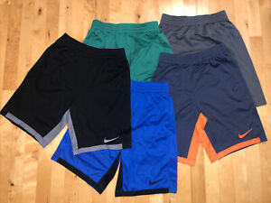 Lot of 5 EUC Nike Dri-Fit athletic Shorts Boys Youth XL 14 / 16 Gray Black Blue