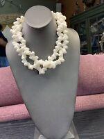 "Necklace White Shiny  Shell Beaded Bohemian Multi Strand necklace 18"" Statement"