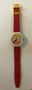 """1980's Swatch Coca Cola Watch 9"""" Swiss Made Water Resistant Scratch on Dial"""
