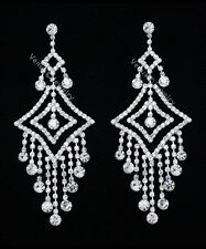 "4.25"" Bridal Prom Pageant Crystal Chandelier Earrings"