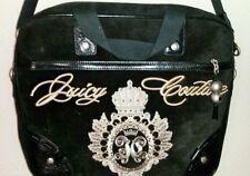 Women Handbag Juicy Couture Black Velvet Golden Embroiled Computer Crossbody