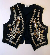 Ladies waistcoat Size 16 Black wth beads and shell design Lined Todays Woman WW2