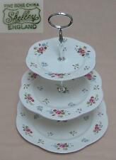 "Shelley ""Rose & Red Daisy"" (Dainty Shape, Embossed) THREE TIER CAKE STAND"