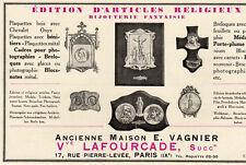 LAFOURCADE VAGNIER EDITION ARTICLE RELIGIEUX PARIS PUBLICITE PUB 1929 FRENCH AD
