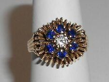 VINTAGE 14K GOLD LADIES .20 DIAMOND AND SAPPHIRE RING 1960's - 1970's (15CC)