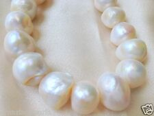 12-16mm Genuine Freshwater Pearl Cultured Loose Bead White Round Potato 2mm Hole