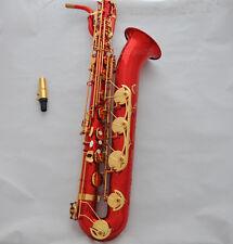 Prof. Red Gold Baritone Saxophone Eb Sax Low A  high F# Dragon design Wheel Case