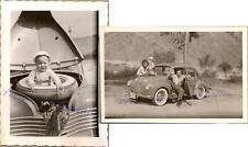 Family / Baby on Spare Tire 1948-1949 Renault 4CV Sedan Mini/Compact Car Photos