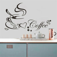 Coffee Cup with Heart Vinyl Quote Kitchen Removable Wall Stickers DIY Home`Decor