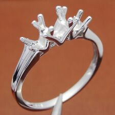 Round Cut Semi Mount Jewelry Ring Sterling Silver 925 Three Stone 4.75mmto5.5mm