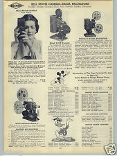 1938 PAPER AD Bell Movie Camera Mickey Mouse Donald Duck Oswalt Rabbit Movies