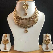 BEIGE GOLD INDIAN MUGHAL KUNDAN JEWELLERY NECKLACE EARRINGS CRYSTAL SET NEW 027