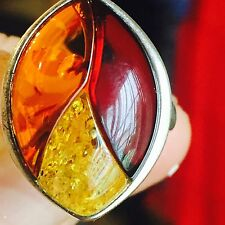 100% Genuine Vintage Russian Baltic Amber Butterscotch Egg Yolk Ring 老琥珀 Silver