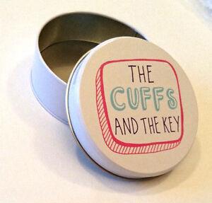 THE CUFFS & THE KEY TIN Round Trinket Storage ROMANCE BEDROOM Gift Range TAT04