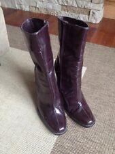 """Nine West dark chestnut brown zip boots 3.5"""" high heel boot sz 8.5 dress boots"""