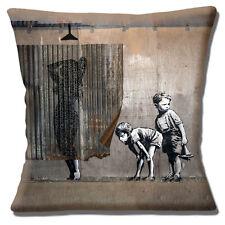"Banksy Graffiti Artist 16""x16"" 40cm Cushion Cover 'Sneaking a Peek' Shower Boys"