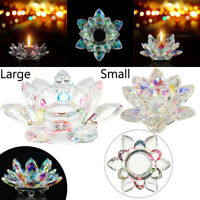 Colorful Crystal Glass Flower Candle Light Holder Candlestick Home Decor Gift UK
