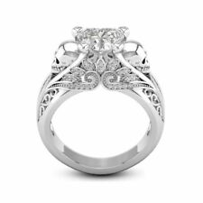 Elegant 925 Silver Filled White Sapphire Skull Flower Heart Ring Wedding Jewelry