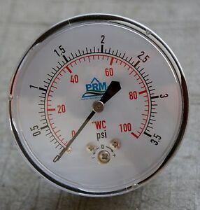 "New PRM 0-100"" WC Pressure Gauge 2.5"" Chrome Case ¼"" NPT Brass Back"