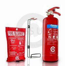 BSi EN3 2KG DRY POWDER FIRE EXTINGUISHER WITH BLANKET HOME OFFICE CAR  KITCHEN