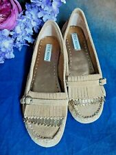 STEVE MADDEN suede leather MOCCASINS TAN with gold FRINGE 8 M NWT flats