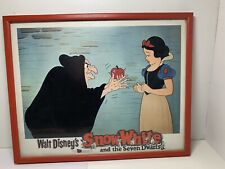 """12x14"""" Snow White And Evil Witch Picture In Red Wood Frame And Glass"""