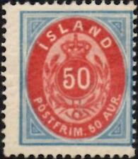 Iceland 1892   50a  Carmine & Blue   Perf 14 x 13.5   SG.24 Mint (Hinged)