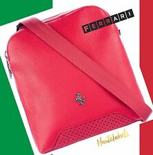 FERRARI Men's Messanger Bag / 100% RED LEATHER and SUEDE / Made in Italy