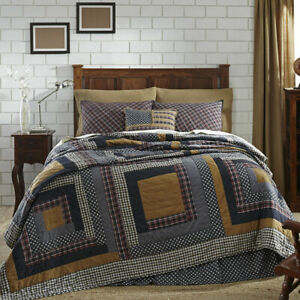 Wesport King Quilt 4 pc Bedding Americana Log Cabin Quilting Pattern