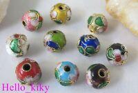 150Pcs Mixed colour cloisonne enamel round beads 8mm M511