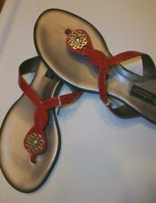 Brighton Sandals 8.5 M Poetry BLACK Snake Skin Embossed Patent Leather NEW