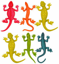 6 STRETCHY LIZARDS Party Bag Stocking Filler Wild Animal Stretch Loot Toy