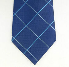 Wide blue check tie by Thomas Nash textured polyester washable