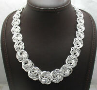 """18"""" Bold Graduated Rosette Love Knot Chain Link Necklace Real Sterling Silver"""