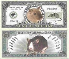 Year Of The Rat Creative Intelligent Million Dollar Bills x2 Chinese Zodiac 2020
