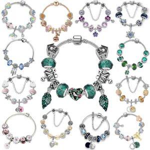 Flower 925 European Silver Bracelet Charm Murano Glass Beads Women DIY Jewelry