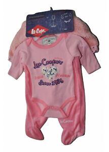Lee Cooper Ensemble Bébé 6 P Barboteuse Pantalon Body Bavette Bonnet mitaines