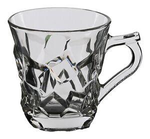 Silica Crystal Set of 6 Tea Glasses & Handles Patterned Glass Tea Mugs Gift Box