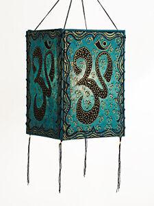 Lampshade, Om, Turquoise, Lokta Paper , Paper Light Paper Lamp Lantern Hängel
