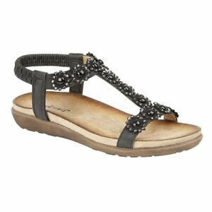 Cipriata ladies elasticated flower halter back sandals Style L106 Colour Blk s 6