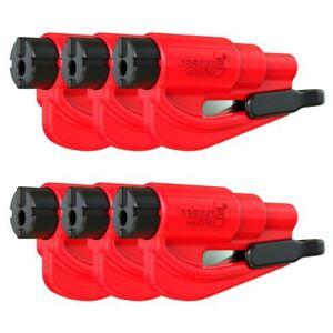 resqme® Car Escape Tool - Red, 6 pack, Seatbelt Cutter / Window Breaker