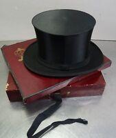 Antiker Hut Zylinderhut Top Hat Chapeau Claque Zylinder 55,5cm Klapphut  1900-20