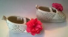 Cream Colored Infant Baby Shoes w/ Pink Flower Size 3 - 6 Months ABG Brand