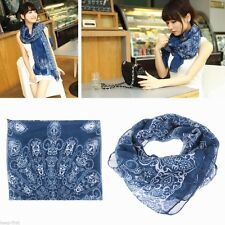 BIG Deep Dark Blue White Floral Damask Chiffon Transparent Shawl Long Scarf Wrap