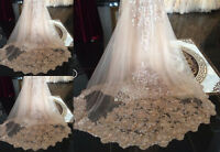 Shiny Wedding Veil Bridal Sequin Cathedral Length 1T Champagne White Ivory +Comb